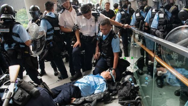 Dozens were injured in Wednesday's clashes, including 12 police officers