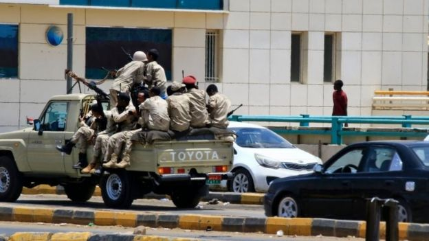Members of Sudan's security forces patrol on 6 June 2019 in Khartoum