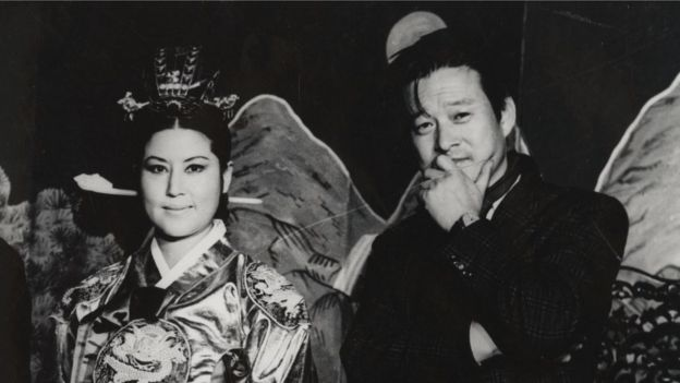 "Screenshot from ""North Korean Kidnap - The Lovers and the Despot"" showing Shin and Choi"