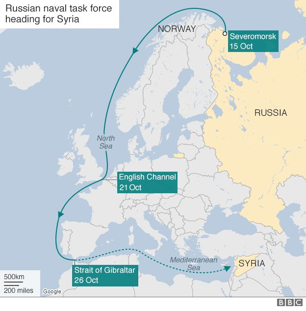 Map showing route of Russian flotilla