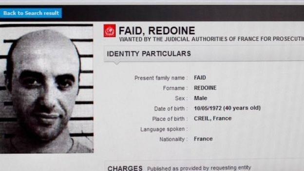 This file photo taken on 15 April 2013 in Paris shows a screenshot of the Interpol website shows the international wanted person notice for French robber Redoine Faid.