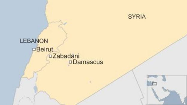Syrian forces close in on rebel-held Zabadani - BBC News on map of syria homs, map of syria raqqa, map of syria damascus, map of syria deraa, map of syria idlib, map of syria palmyra, map of syria latakia,