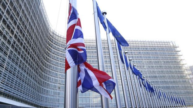 Flags outside the EU Commission headquarters in Brussels