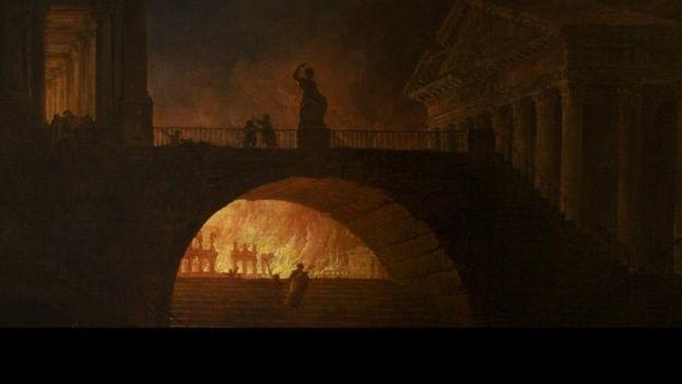 रोम के जलने का दृश्य