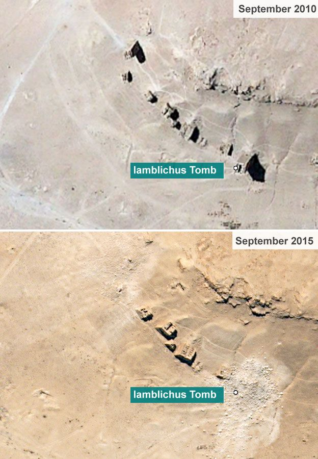 Satellite images from September show the Iamblichus Tomb and others nearby have been destroyed