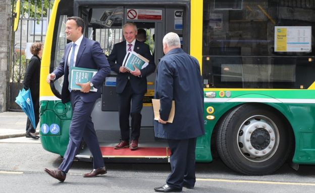Leo Varadkar and Richard Bruton took a bus to the official launch