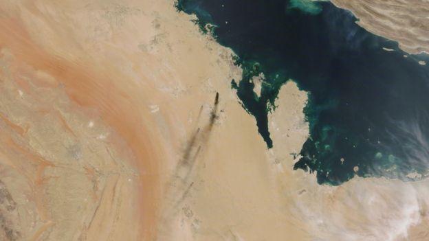 تصویر ماهوارهای حمله به آرامکو
