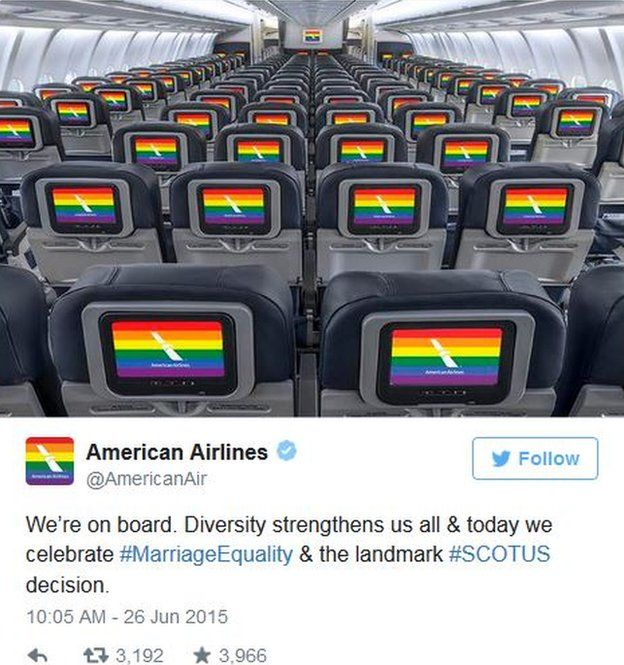 """American Airlines tweets it's """"on board"""" with the court decision."""