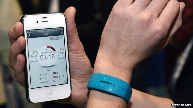Wearable fitness tracker and smartphone