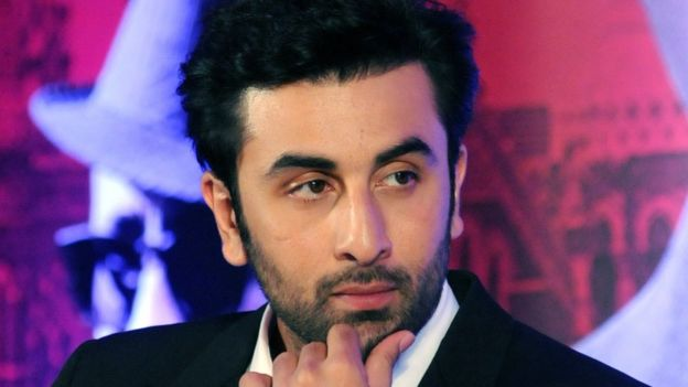 Indian Bollywood actor Ranbir Kapoor looks on during a promotional event for the forthcoming Hindi film 'Bombay Velvet', 2015