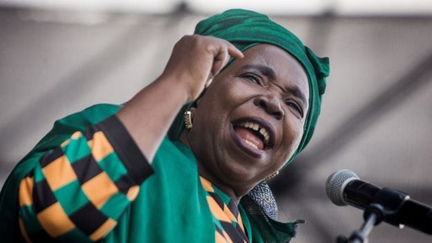 Candidate for South Africa's ruling African National Congress (ANC) party leadership Nkosazana Dlamini-Zuma gestures as she addresses the audience during her final campaign at a African National Congress (ANC) Kwazulu-Natal rally in Clermont township south of Durban on December 9, 2017.