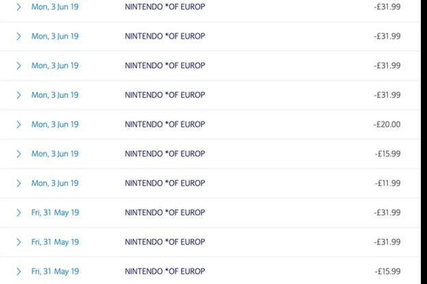 Extrato bancário de Carter mostra os débitos da Nintendo