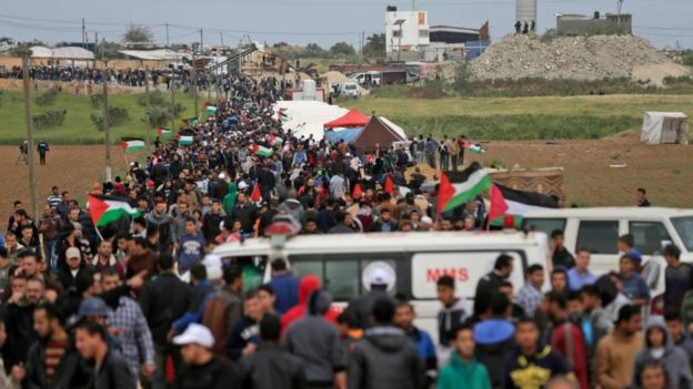 Palestinians march to mark Land Day east of Gaza City