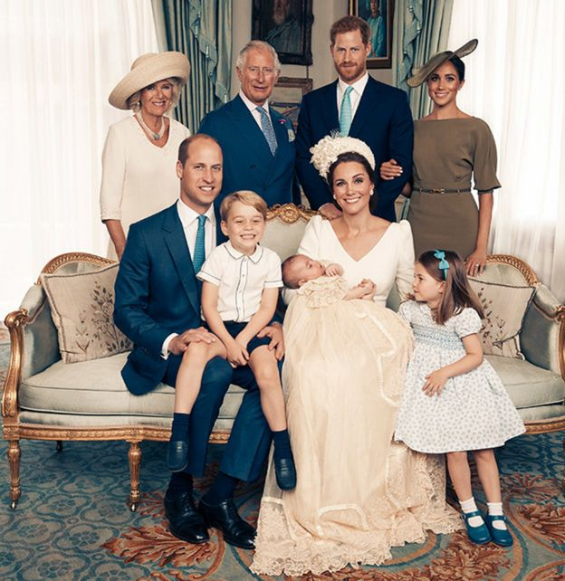 Duchess of Cornwall, Prince Charles, Prince Harry, Meghan Markles, Prince William, Prince George, Prince Louis, Duchess of Cambridge and Princess Charlotte