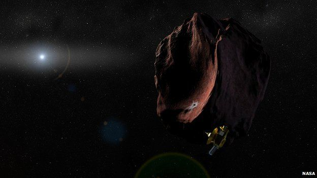 Artist's impression of New Horizons flying past 2014 MU69 in 2019