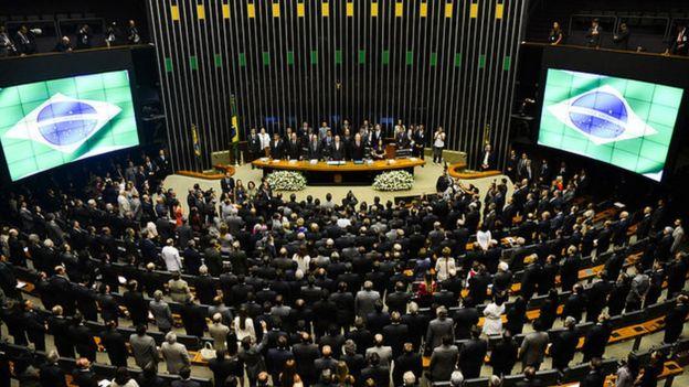 Cerimônia conjunta do Congresso Nacional para a abertura do ano legislativo em 2015.
