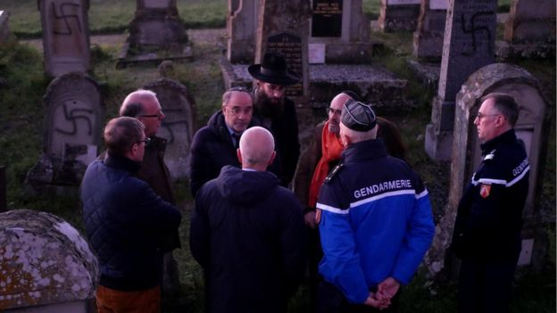 The prefect of the Bas-Rhin region, Jean-Luc Marx, visited the site to express his support for the Jewish community