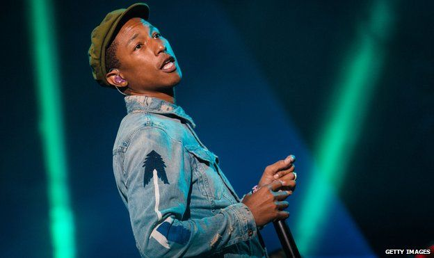 Pharrell Williams on stage in Brazil in March 2015