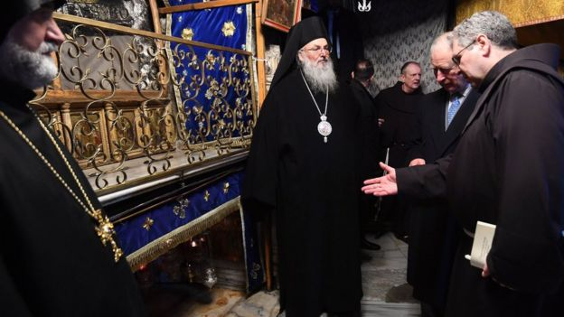 Prince of Wales at the crypt during a visit to the Church of the Nativity