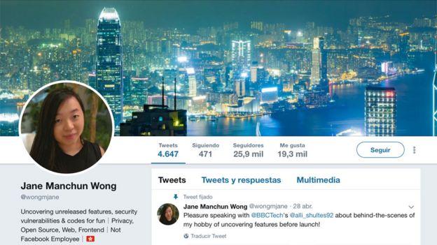 Perfil en Twitter de Jane Wong