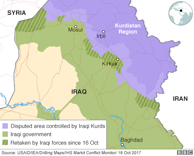Iraq kurds army claims full control of kirkuk province bbc news map of iraq and kurdistan region sciox Image collections