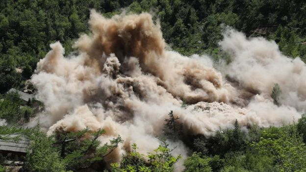 The Punggye-ri nuclear test site is demolished on May 24, 2018 in Punggye-ri, North Korea.