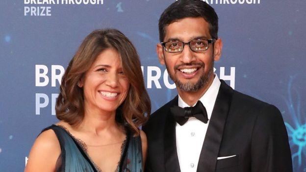 Sundar Pichai con su esposa Anjali.