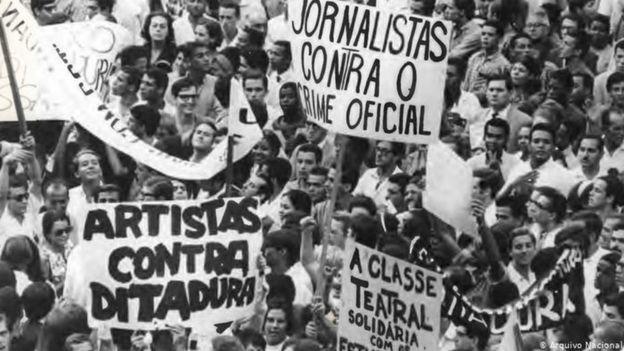 Manifestação de grupos contrários à ditadura militar