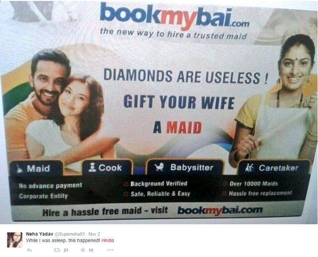 Screenshot of tweet with advertisement of website bookmybai.com