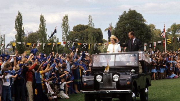 The Queen and Duke of Edinburgh in Melbourne, 1977