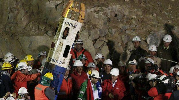 Rescate de un minero con la cápsula en 2010.