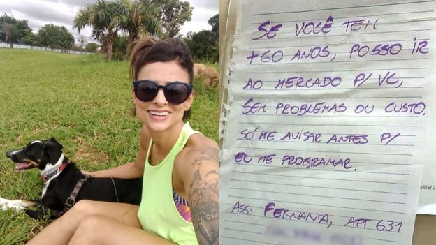 Recado que Fernanda Salvadé deixou nos elevadores de seu condomínio