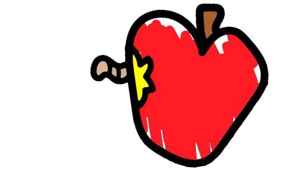 Manzana con gusano dibujo