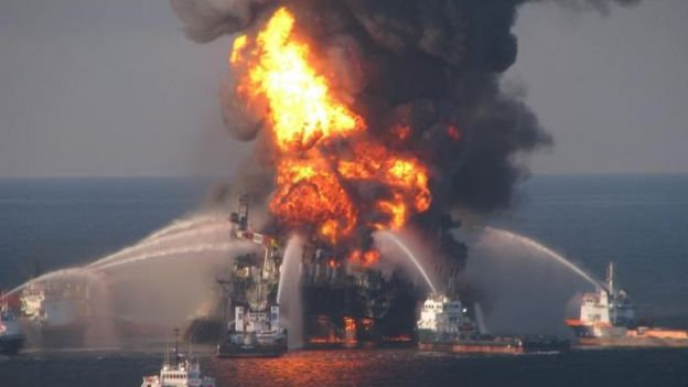 Fire boat response crews battle the blazing remnants of the offshore oil rig Deepwater Horizon