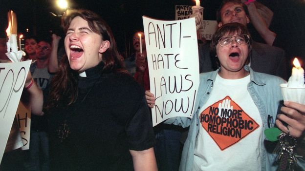 Two gay activists demonstrate in the streets of North Hollywood 12 October 1998