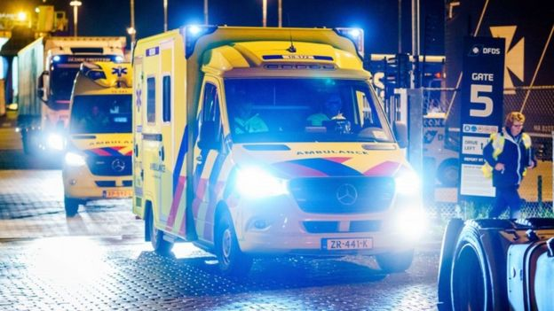 Emergency services at the Vulcaanhaven, where 25 stowaways were found in a DFDS ferry