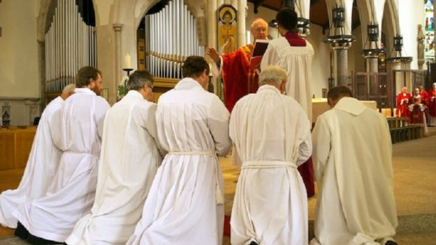 Fr Simon being ordained as a deacon
