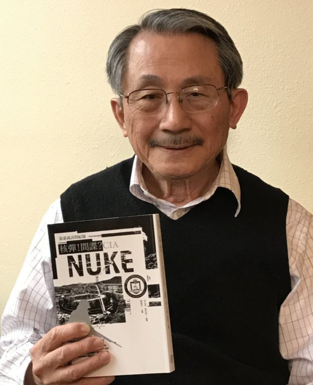 Picture of Chang Hsien-yi with his book Nuclear! Spy? CIA: Record of an Interview