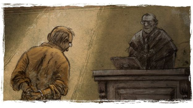 Illustration depicts Tabata's abuser being sentenced in court