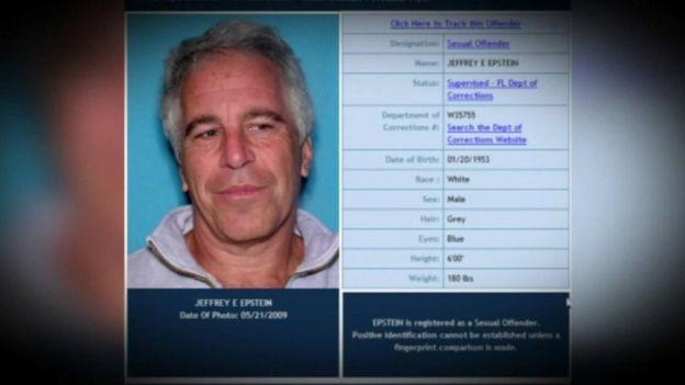 Ficha policial de Jeffrey Epstein.