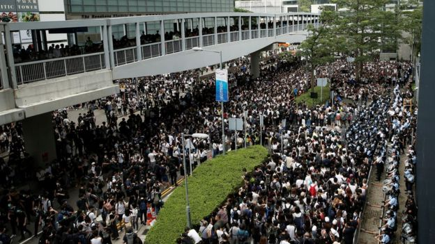 Protesters outside the Legislative Council building in Hong Kong on Wednesday