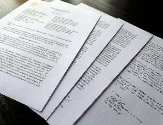 تاکنون تنها ۴ صفحه خلاصه فشرده این گزارش از سوی ویلیام بار، دادستان کل به کنگره فرستاده شده و در اختیار رسانهها است
