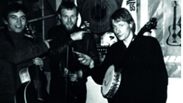 Mike Heron, Robin Williamson and Clive Palmer, backstage at Clive's Incredible Folk club in 1966