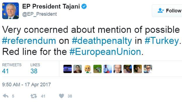 Tajani tweet