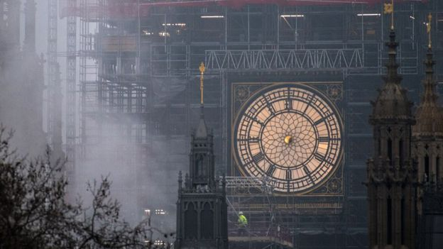 Big ben clock tower hands removed for maintenance bbc news big ben clock tower hands removed for maintenance malvernweather Choice Image