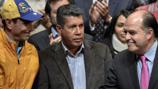 Henrique Capriles, Henri Falcón y Julio Borges.