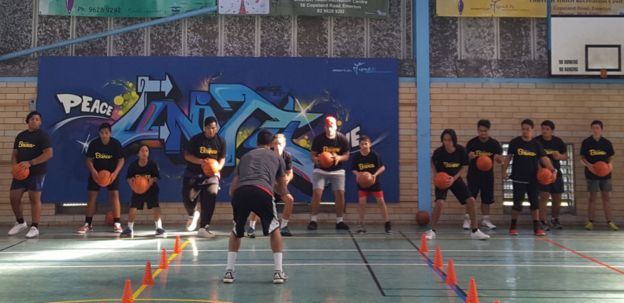 A basketball session run by Charity Bounce