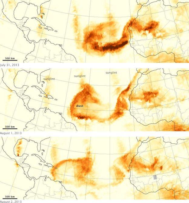 Mapa mostra deslocamento da nuvem de poeira no oceano Atlântico