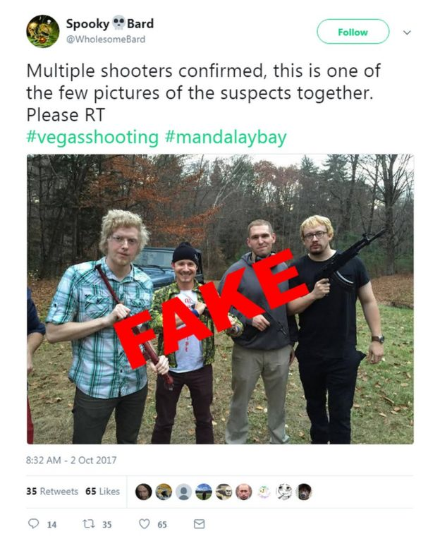 Tweet including picture of US comedian Sam Hyde, falsely linked to Las Vegas shooting
