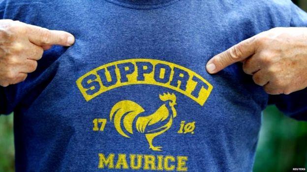 मौरिस के समर्थन वाली टीशर्ट